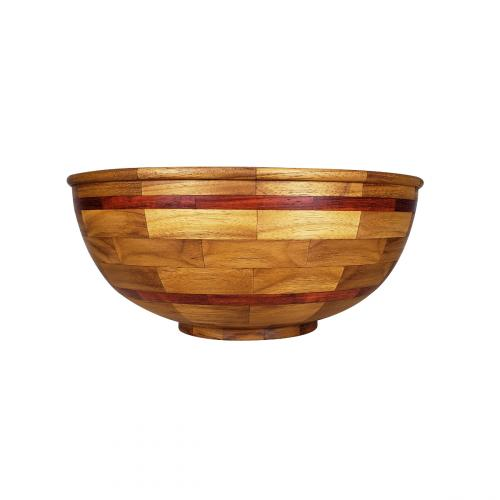 Segmented Teak Bowl with Padauk Accents